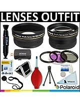 Polaroid Studio Series .43X HD Wide Angle Lens + Polaroid Studio Series 2.2x HD Telephoto Lens + Polaroid Optics 3 Piece Filter Set (UV, CPL, FLD) + Cleaning & Accessory Kit For The Sony HDR-XR160, PJ10, MC50U, CX700V, CX560V, CX160, DCR-SX65, SX45, SX85, CX130 Handycam Camcorder