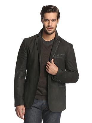 John Varvatos Collection Men's Notch Lapel Suede Jacket (Metal Grey)
