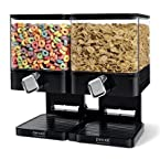 Zevro Portion Control Double Compact Edition Dry Food Dispenser, Black/Chrome