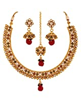 Antique Rajwadu Ruby Necklace and Earrings