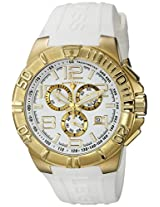 Swiss Legend Watches, Men's Super Shield Chronograph White Dial Gold Tone IP Case White Silicone, Model 40118-YG-02