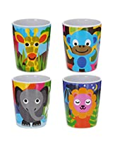 French Bull - BPA Free Kids Cups - 6 ounce Melamine Kids Juice Cup Set - Jungle, Set of 4