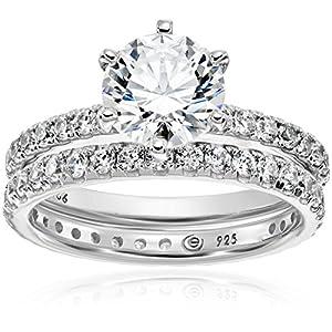 Platinum-Plated Sterling Silver Swarovski Zirconia Ring Set, Size 6