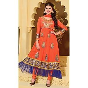 Urvashi Rautela Orange Designer Anarkali Suit