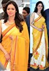 Sridevi Bollywood replica yellow and white saree