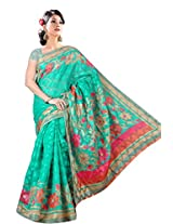 Khushali Women's Printed Multi Color Bhagalpuri Brasoo Saree With Unstitched Blouse Piece (rama green)