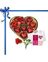 9pc Heart Shape Decorated Chocolates with Rose and Card - Chocholik Luxury Chocolates