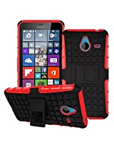 DEFENDER Hard Armor Hybrid Rubber Bumper Flip Stand Rugged Back Case Cover For Microsoft Lumia 640XL - RED