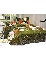 3D Floral Design Double Bed Sheet With Pillow Covers