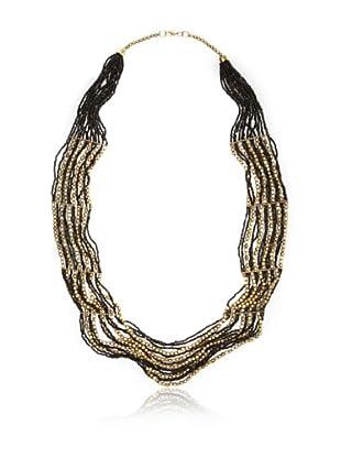 La Croix Rousse Beaded Necklace, Gold and Black
