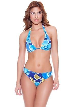Teleno Bikini Cortina Flores Azul (Azul)