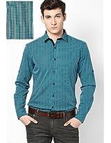 Blue Micro Checks Roll Up Sleeve Shirt Phosphorus