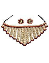 DollsofIndia Beige Macrame Thread Necklace and Earrings with White and Blue Beads - Thread - Magenta