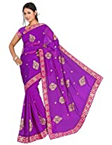 Chinco Embroidered Saree With Blouse Piece (1005-A_Purple)