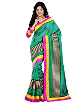 Riti Riwaz Green Bhagalpuri silk Printed saree with unstitched blouse RPS6206A