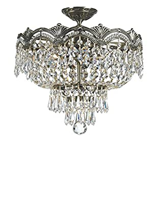 Gold Coast Lighting Majestic 3-Light Italian Crystal Semi Flush, Historic Brass