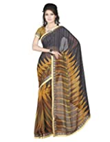 Lookslady Printed Black Festival Georgette Sarees For Women