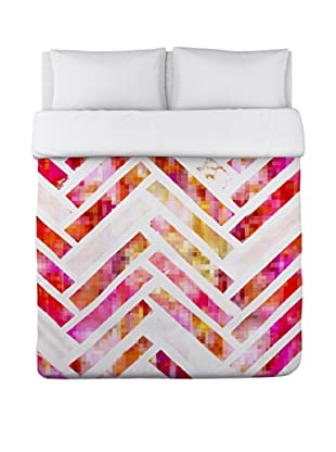 Oliver Gal by One Bella Casa Sugar Flake Herringbone Duvet Cover (Pink/Multi)