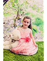 Magic Fairy Girls' Lace Dress [MF-307_Coral_4-5 Years]