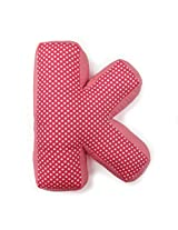 "One Grace Place Simplicity Hot Pink Letter Pillow ""K"", Hot Pink and White"