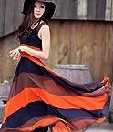 Women Bohemian Stripe Long Style Sleeveless Beach Maxi Dress M Orange