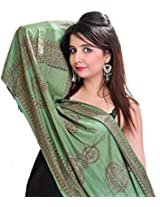Exotic India Womens Poly Cotton Scarves ,Green ,Free Size