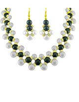 Gorgeous White and Black Real Pearls Necklace Set for Women