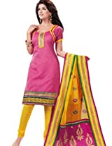 Charu Boutique Women Cotton Dress Material (Smm173F _Pink)