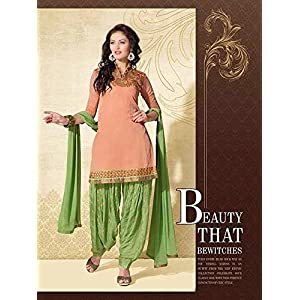 Unstitched Peach Cotton Top With Santoon Bottom & Chiffon Dupatta Embroidery With Print Work Punjabi Patiala Salwar Suit