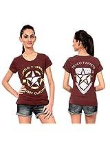 Texco Women's Round Neck T-Shirt (TC0049W-0012_Brown_Medium)