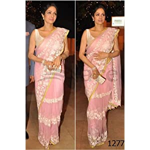 Sridevi In Beautiful Pink Manish Malhotra Designer Saree