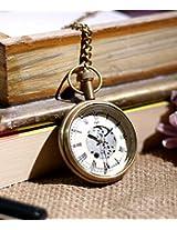 Roman Brass Metal Mechanical Pocket Watch Open Face Design for Men Women Vintage - 1.8 Inch