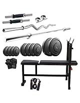 Dixon Men's Rubber & Steel 38 Kg Home Gym Set Standard Silver & Black - DGM 31