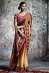 Laxmipati Wrinkle Satin Crepe Saree in Brown Colour 3283