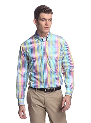 Oxxford Men's Sport Shirt with Button-Down Collar (Pink/Yellow)