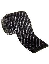 """Retreez Smart Casual Retro Stripes Men's 2.4"""" Skinny Knit Tie - Black with Grey"""