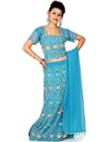Exotic India Robin-Egg Blue Lehenga Choli with Beadwork and Sequins - Blue