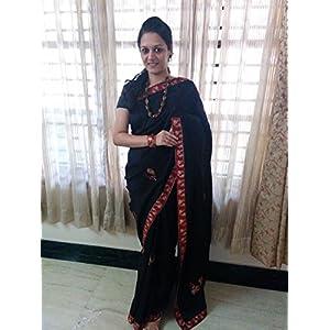 SevenFolds Black Kalamkari Jute Cotton Designer Saree