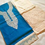 Blue Cotton Dress Material With Dupatta