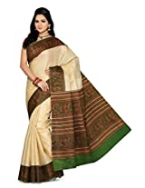 Somya Women's Bhagalpuri Silk Printed Green Saree