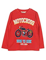 Beebay Boys Motorcross Bike Print T-Shirt (B0815202702618_Rust_12Y)