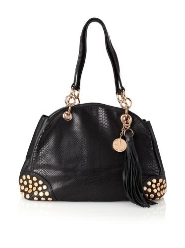 Stella & Jamie Women's Viv Studded Embossed Shoulder Bag (Black)