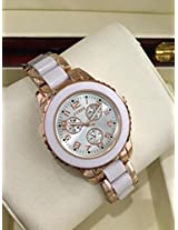 Branded Guess Reys White Tone Watch for Women