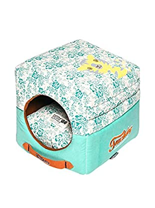 Touchdog Floral-Galore Convertible/Reversible Squared 2-in-1 Collapsible Dog House Bed, Teal Blue/White