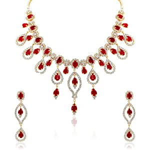 Oviya Gold Plated Sovereign Grace Pendant Set With Crystal For Women NL2103112G