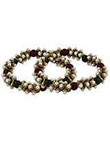 The Jewelbox Stretchable Red Black Antique Gold Plated Pearl Anklet Pair For Women