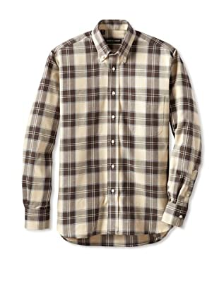 Kenneth Gordon Men's Long Sleeve Plaid Shirt (Brown)