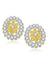 VK Jewels Starburst Gold and Rhodium Plated Earrings -ER1330G [VKER1330G]