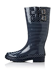 Chooka Women's Classy Stripe Rain Boot (Navy)