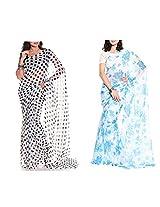 MemSahiba Women Semi-Chiffon Saree set of 2 (MS-645-1092)